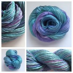 SILKY TIDES ~  Only 1 available #yarn #yarnbaby This DK weight silk skein is incredible!  It's very soft and very shiny -- such a joy to work with! Perfect for someone who is allergic to wool (that would be SO sad!), or for someone who enjoys the finer things in life. ;-) Color(s): shades of blues, turquoise, and purple Fiber(s): 100% silk Weight: DK Length/yardage: +/- 252 Care instructions: hand wash with care, lay flat to dry