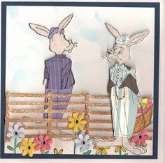 Art Impressions Rubber Stamps: Fronts and Backs,  Rupert Rabbit F&B (Sku#U1752). Handmade Spring Easter card. fence flowers