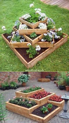 20 Truly Cool DIY Garden Bed and Planter Ideas - Build tiered beds from wood. - 20 Truly Cool DIY Garden Bed and Planter Ideas – Build tiered beds from wooden pallets. – 20 Truly Cool DIY Garden Bed and Planter Ideas Diy Garden Bed, Diy Garden Projects, Raised Garden Beds, Raised Beds, Easy Garden, Garden Tips, Diy Garden Ideas On A Budget, Garden Mesh, Raised Flower Beds