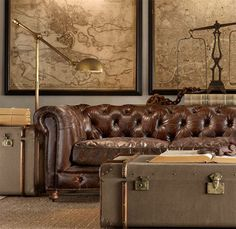 A must have- Framed world map living area Vintage Furniture and Decorative Accessories from Restoration Hardware, Retro Furniture Design Casa Steampunk, Steampunk Home Decor, Steampunk Interior, Steampunk Furniture, Steampunk Theme, Retro Furniture, Furniture Design, Brown Furniture, Antique Furniture