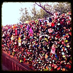 Love locks. Seoul Tower. Seoul, South Korea