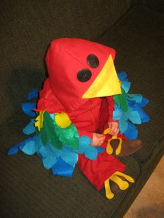 Baby Parrot Halloween Costume: Front View Made from a red hoodie & felt :)