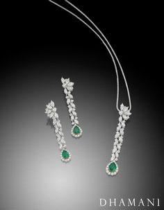 Capture the essence of spring with Dhamani's vitalizing emerald necklace and earring set. Fancy Jewellery, Royal Jewelry, Emerald Jewelry, Custom Jewelry, Jewelry Sets, Diamond Jewelry, Vintage Jewelry, Emerald Necklace, Diamond Chandelier Earrings