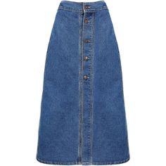 Yoins Button Through Denim Midi Skirt (355.795 IDR) ❤ liked on Polyvore featuring skirts, blue, button skirt, denim midi skirt, blue skirt, button-front denim skirts and knee length denim skirt