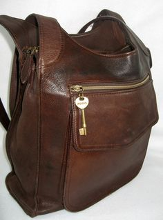 Vintage FOSSIL  80 s Pebbled Chocolate Brown Leather Bag - Huge Tote cc329999d86db