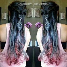Steel blue hair color with red pink ends and fabulous braids braided style by Sunny Su hotonbeauty.com