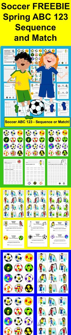 FREEBIE! Spring Literacy Center Activities  ★ Spring Soccer ABC & 123  ★ Sequencing and Matching Upper & Lower Case Letters  ★ Counting to 20   ★ 20 Page Download - 4 Ways to Play  ★ Spring Soccer balls with the lower case letters of the alphabet match up to soccer nets with the upper case letters.   ★ COLOR CODED to keep separate.  ★ Numbers 1-20 to arrange in order as well. 1-10 are on soccer balls, and 11-20 are on soccer nets.