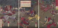 Triptych: Battle of Okehazama in Bishû, Owari Province (Bishû Okehazama kassen) | Harvard Art Museums