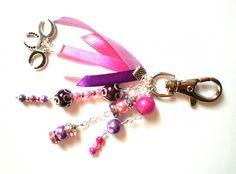 Porte-clés ou bijoux pour sac à main fantaisie Dégradé rose/violet : Porte clés par miss-k-priss
