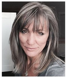 """#grey #hair #with #bangs #greyhairwithbangs """"Graycefully"""" does it! Embracing the gray/grey with the help of Miranda! :) Grey Hair With Bangs, Grey Hair Over 50, Grey Blonde Hair, Long Gray Hair, Grey Hair Fringe, Grey Hair Lowlights, Dark Hair With Highlights, Medium Hair Styles, Short Hair Styles"""