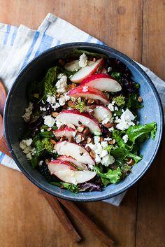 white peaches and asparagus salad
