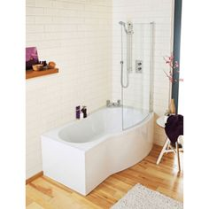 Ceramica P Shaped Shower Bath Bundle 1700mm Right Hand