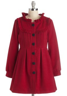 Filled with Glee Coat in Red. How can you not spend the day smiling when youre wearing this red coat from Pepa Loves? #red #modcloth