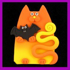 Orange Yellow Halloween Cat & Bat Pin