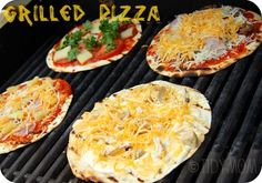 GRILLED TORTILLA PIZZA.  This is a favorite to pack!  We always carry tortillas to use for snacks, sandwiches, breakfast... Anything.   Since camping doesn't have a timetable, these make a quick snack for the kids mid-day.  We grill these over the campfire on our tripod grill.    Use your imagination!!  (I have even made these on the grill and in the oven.)