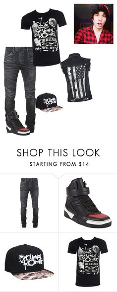 """""""Random #11"""" by starlit-night ❤ liked on Polyvore featuring Balmain, Givenchy, Rock Rebel, men's fashion and menswear"""