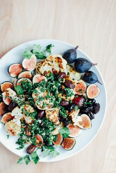 roast cauliflower with figs and olives.