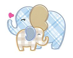 Two Cute Elephants Embroidery Applique - Instant EMAIL With Download - for Embroidery Machines