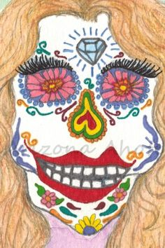 Print of Original Day of the Dead Starlet Watercolor Painting 4x6 | ArizonaAhoteArt - Print on ArtFire