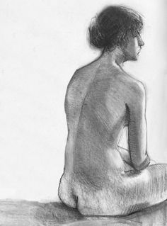 Charcoal Drawing Nude Woman, Full Back View of Torso, Art Print from Original Figure Drawing, 8 x 10 and 11 x 14 on Etsy, $16.00