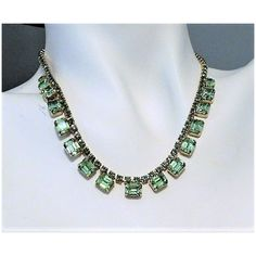 WEISS Vaseline Glass Rhinestone Necklace Choker Bib Green Uranium... ($99) ❤ liked on Polyvore featuring jewelry, necklaces, bridal necklace, green necklace, green bib necklace, rhinestone choker necklace and bib necklaces