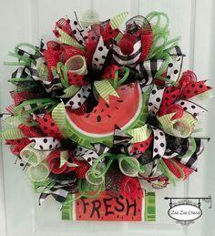 Summer Fun Watermelon Wreath. A refreshing way to welcome summer! www.Facebook.com/zsazsacraza