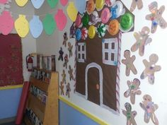 Gingerbread house! Paper plates as candy roof! Christmas! Preschool!