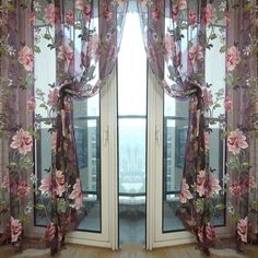 Eseld Purple Tulle for Windows Luxury Sheer Curtain for Kitchen Living Room The Bedroom Design Window Treatments Panel Draperies : Balcony Curtains, Home Curtains, Green Curtains, Floral Curtains, Kitchen Curtains, Window Curtains, Room Window, Balcony Window, Tulle Curtains