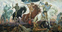 Los cuatro jinetes del Apocalipsis que cabalgan sobre cuatro caballos: rojo, negro, blanco y bayo. Son símbolos o alegorías de la victoria, la guerra, el hambre y la muerte.