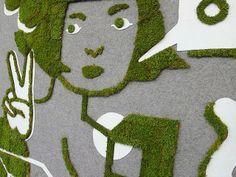 Moss Graffiti Art Installation by Jennifer Ilett and Sprout Guerrilla