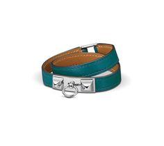 Rivale Double Tour Double-loop bracelet in Izmir Blue Tadelakt calfskin, palladium-plated clasp (wrist size: 17.7 cm)