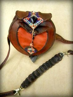 Leather Shoulder Bag Purse with Micro Macrame Inlay featuring Stone Application. $632.00, via Etsy.