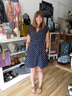 the quirky peach: Navy Polkadot Romper