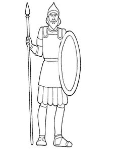 Goliath craft coloring page David and Goliath craft Moppets Sunday School Preschool church wrap Goliath around paper towel tube and David around TP tube. Kids will love to act out the story.