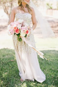 Sparkling sequin wedding dress: http://www.stylemepretty.com/2015/07/03/sparkling-fourth-of-july-details-we-love/