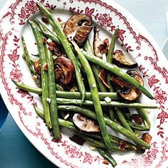 Smoky Haricots Verts and Mushrooms | MyRecipes.com #myplate  #vegetables