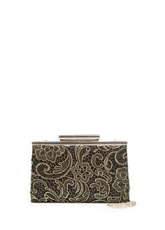 Satin-finish clutch covered with metallic lace. Top clasp fastening and long chain strap. Mango Fashion, Compliments, Mango France, My Style, Metallic Lace, Philippines, Accessories, Clothes, Gifs