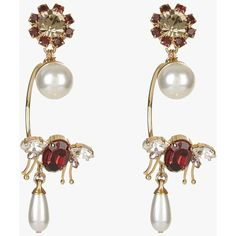 Hoop Bee Earring (83.390 HUF) ❤ liked on Polyvore featuring jewelry, earrings, crystal jewelry, hoop earrings, statement earrings, burgundy jewelry and crystal earrings