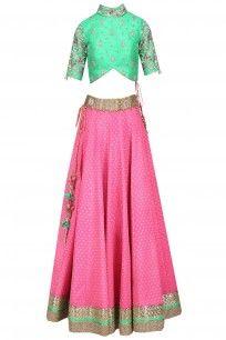 Hot Pink Banarasi Silk Lehenga with Green Floral Work Blouse #amitsachdeva #festivefervour #shopnow #ppus #happyshopping