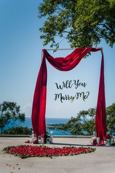 """Stunning set up done by my proposal co. Proposal consists of an arbour that has red draping with a """"will you marry me? The bottom has been styled with candles in glass cylinders with a big love heart made out of roses and red rose petals Proposal Ideas At Home, Surprise Proposal Pictures, Surprise Ideas, Floral Wedding Decorations, Engagement Decorations, Engagement Ideas, Romantic Surprise, Romantic Proposal, Red Rose Petals"""