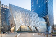 The Shed is a nonprofit cultural organization that commissions, develops, and presents original works of art, across all disciplines, for all audiences. For their Bloomberg Building in Manhattan, Diller Scofidio + Renfro created a structure that can flex to the needs of the occupants. #dwell #moderndesign #modernarchitecture