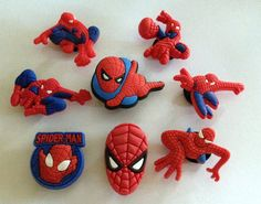 Boys Spiders #2 Super Hero Shoe Decoration Charms or Cake Toppers #2 (Set of 8) Special Promo