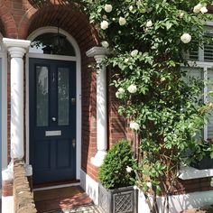 The blue Victorian front door with curve top frame. This bespoke front door is fitted with satin chrome door furniture. That Victorian door is timeless and will suit a variety of different homes. Victorian Front Garden, Victorian Front Doors, Victorian Porch, Victorian Terrace House, Victorian Homes, Edwardian House, Exterior Front Doors, Front Door Entrance, House Front Door