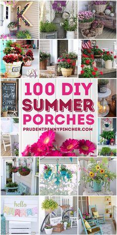 Front Porch Plants, Front Porch Flowers, Summer Front Porches, Summer Porch Decor, Small Front Porches, Diy Porch, Diy Front Porch Ideas, Country Front Porches, Diy Patio