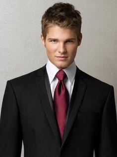 Black w/ Burgundy Tie