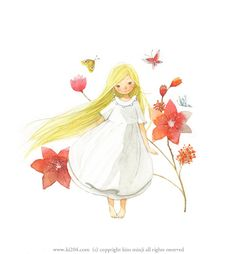 "Kim Min Ji, ""Peter Pan"" illustration.  Such a darling little Wendy."
