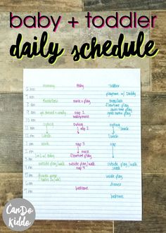 Stay at Home / Work at Home mom's baby and toddler schedule for 2 under 2. http://www.CanDoKiddo.com