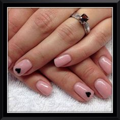 Soft pink with simple black hearts!
