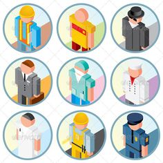 People Occupations Icons. Vector Clipart  #GraphicRiver         Collection of People Occupations Icons. Isometric Vector Image.   - vector illustration with simple gradients   - vector graphics with CMYK colors for print   - zip file contains images: AI, CDR, EPS, JPG   computer, toy, cartoon, 3d, dummies, dummy, job, work, clothes, professional, group, person, sportsman, dressing, human, role, builder, industry, scientist, button     Created: 18February13 GraphicsFilesIncluded…