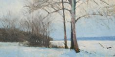 Frank Hobbs: The Frozen Scioto River, Near Liberty, Ohio; oil on panel, 24 x 48 in.  Private Collection